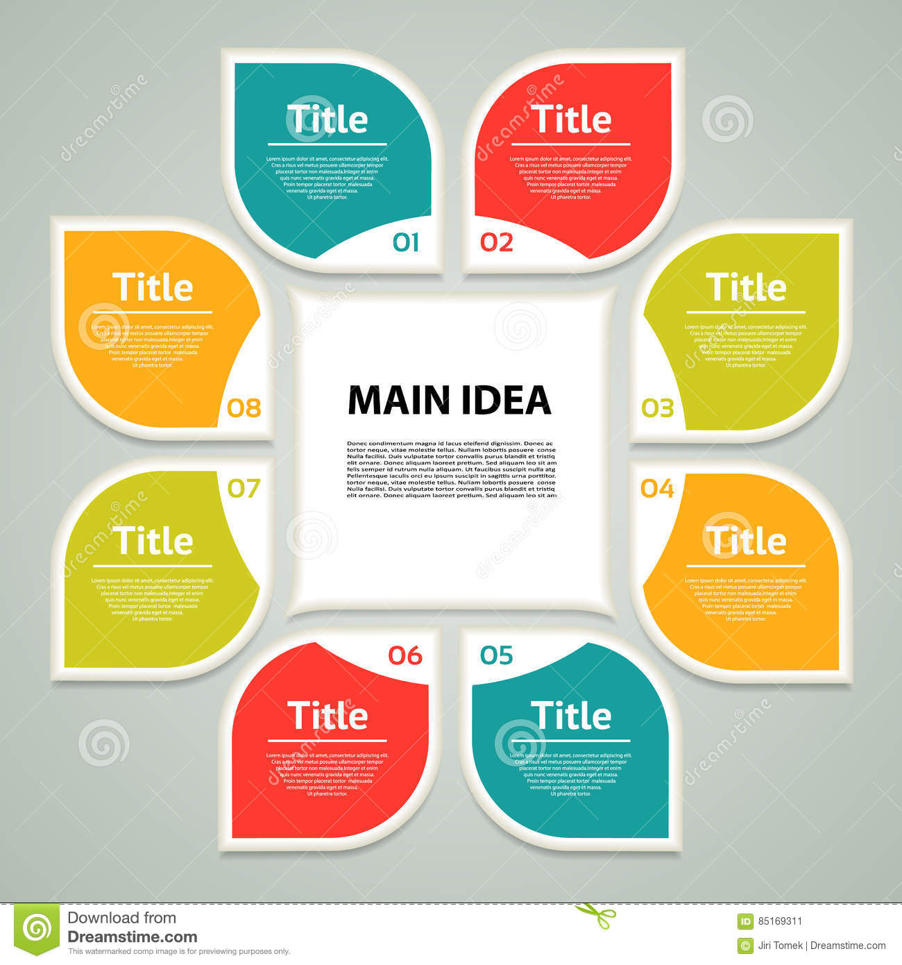 Vector circle infographic. Template for cycle diagram, graph, presentation and round chart. Business concept with 8 options, parts
