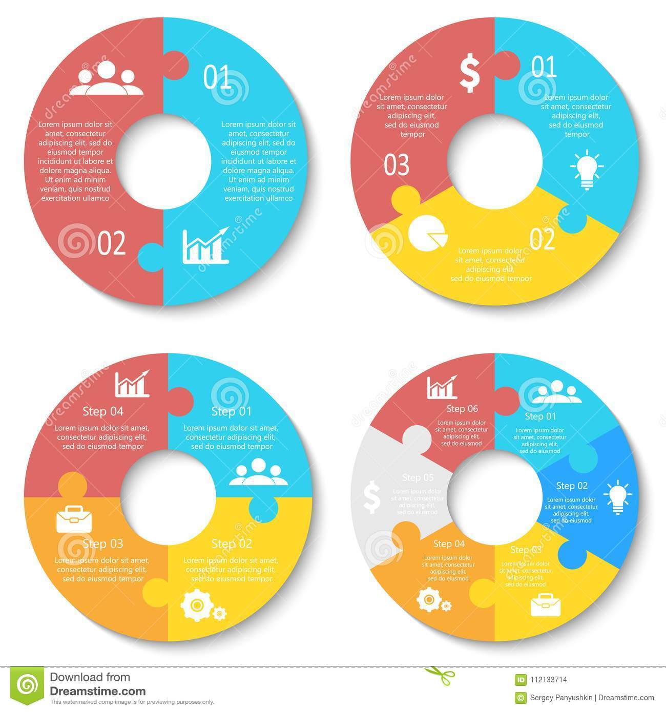 Vector circle puzzle for infographic. Template for round diagram, graph and chart.