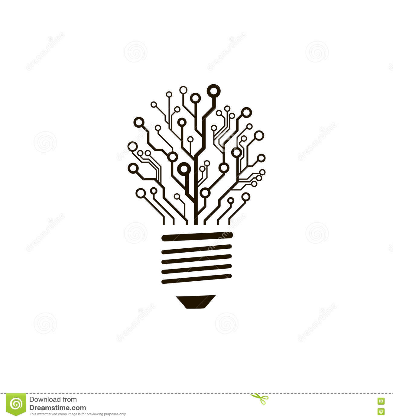 vector circuit board bulb  stock vector  illustration of