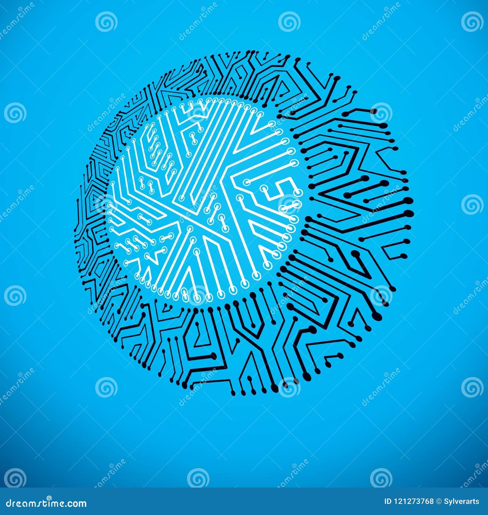 Vector Circuit Board, Digital Technologies Abstraction. Computer ...