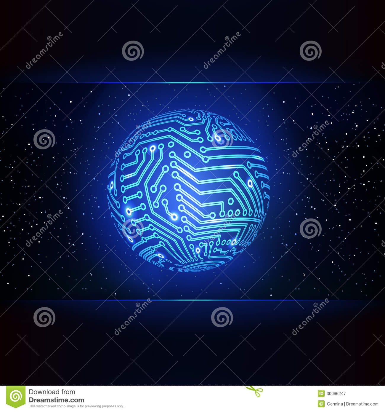 Abstract Electronic Devices Or Computer Circuits Global Network Sphere