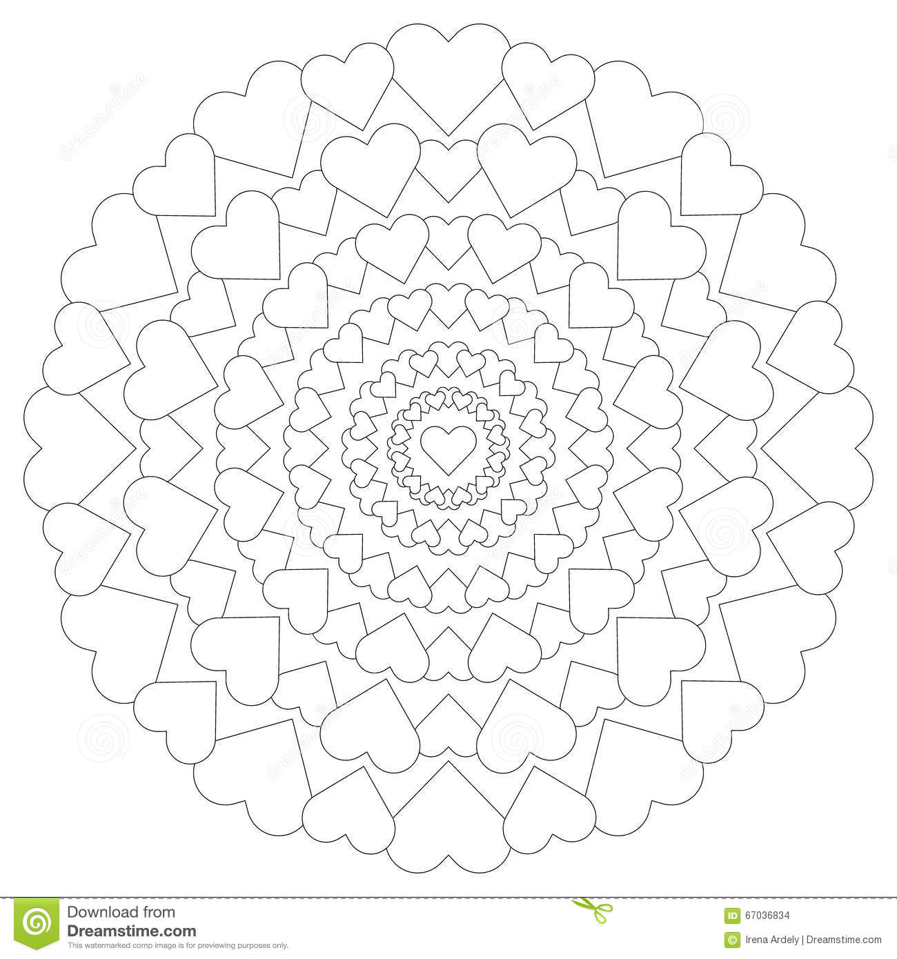 Vector Circular Pattern Loving Mandala With Hearts Black