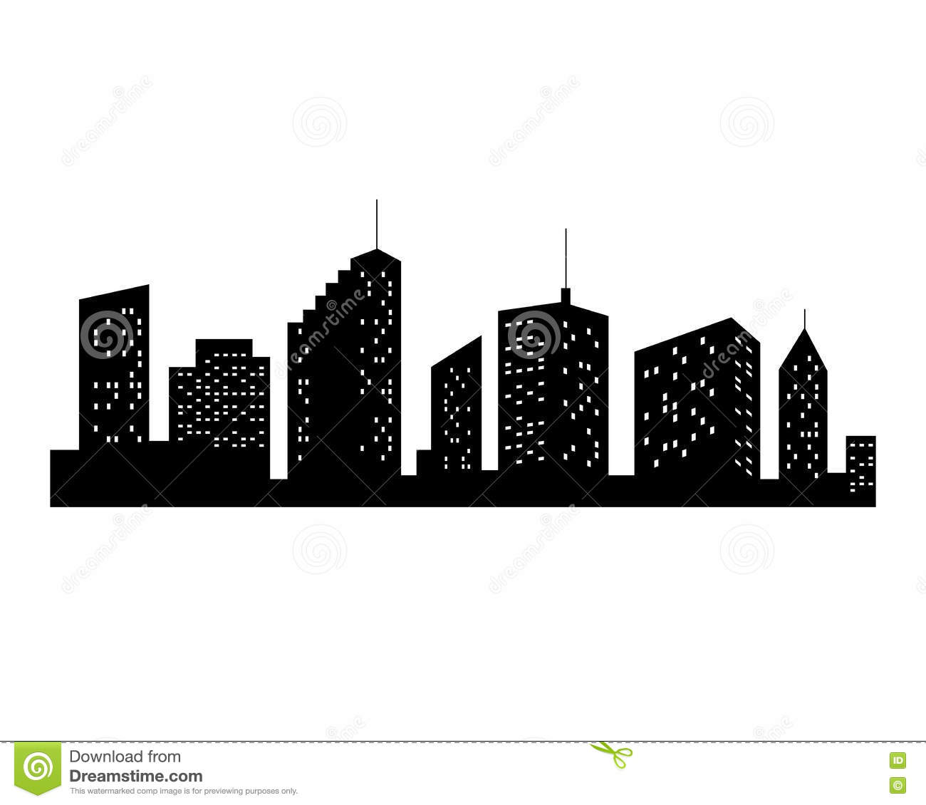 Vector Cities Silhouette. Black City Icon On White ...