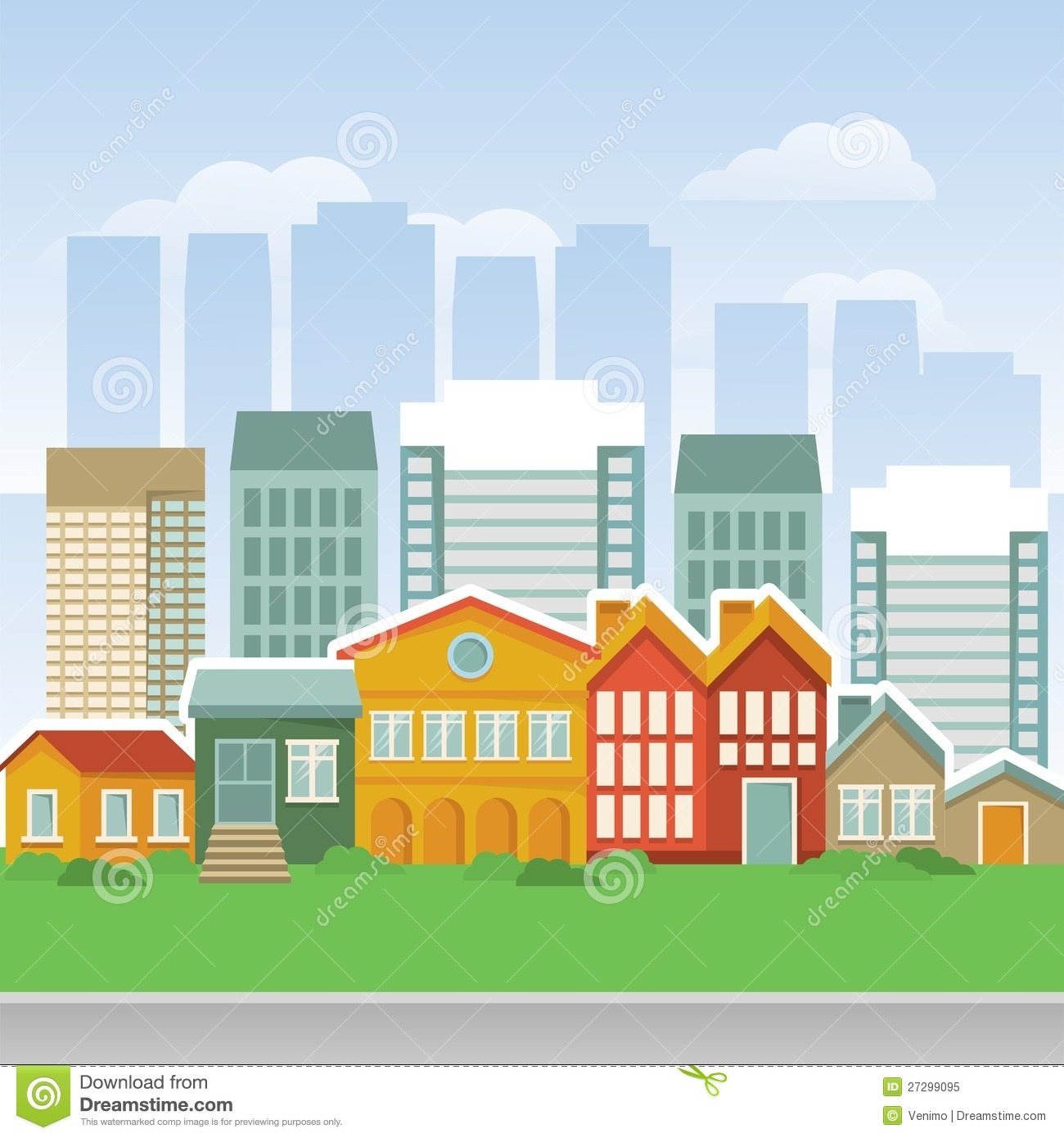 Vector City With Cartoon Houses And Buidings Stock Vector