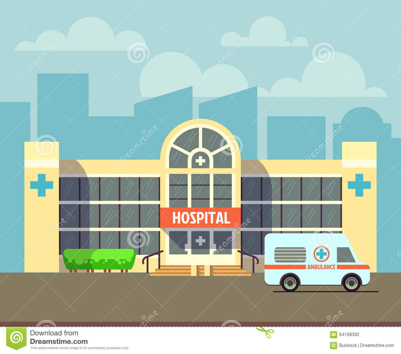 Hospital building on a city street cartoon vector for Hospital building design