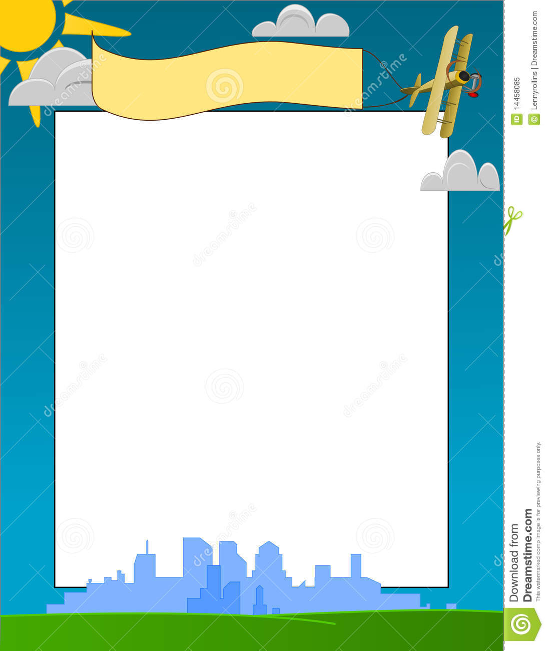 Vector City Skyline And Sunny Day Frame Stock Vector - Illustration ...