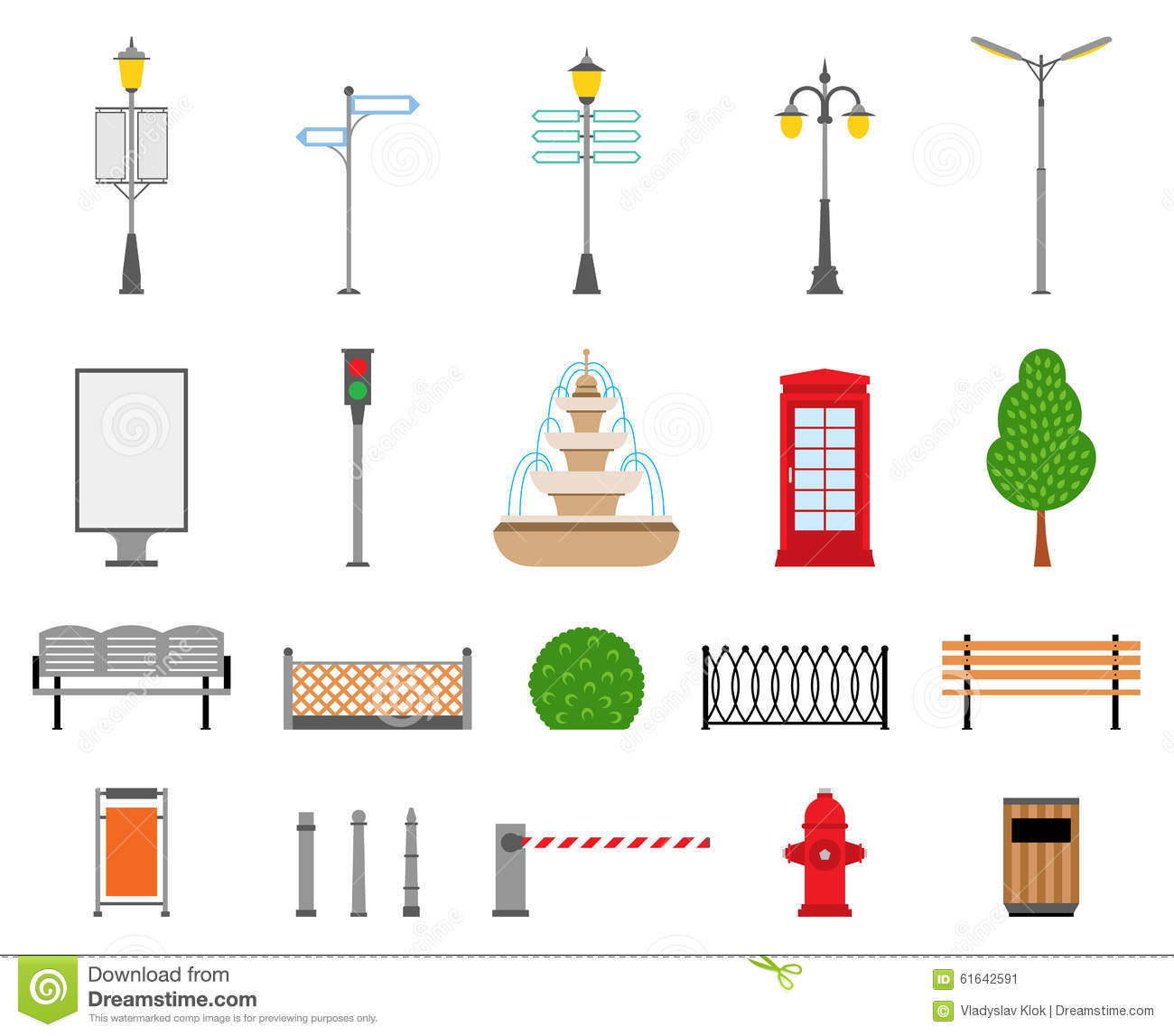 Vector city street park and outdoor elements icons set for Decoration elements