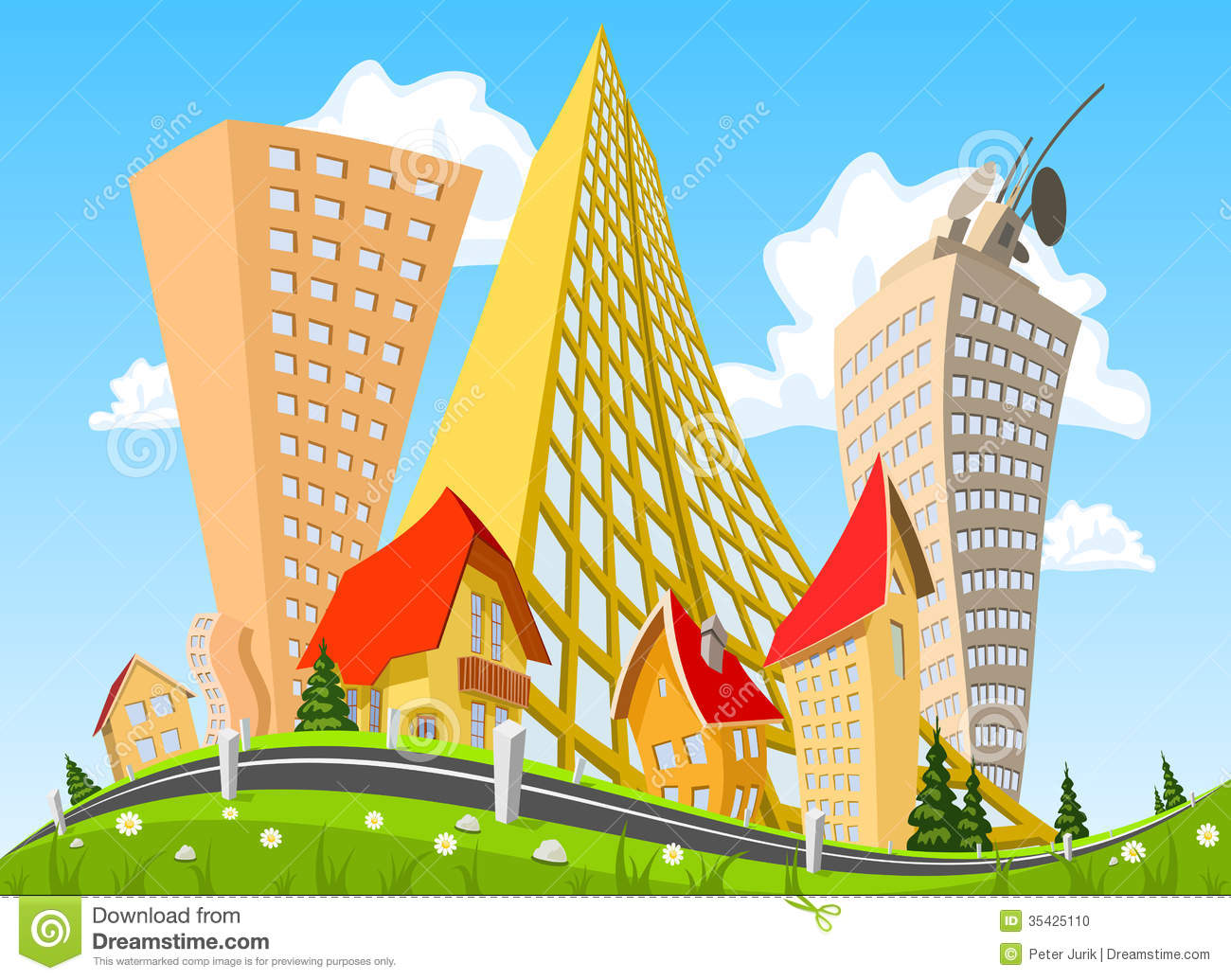 Landscape Illustration Vector Free: Vector City Surrounded By Nature Landscape Stock Photo