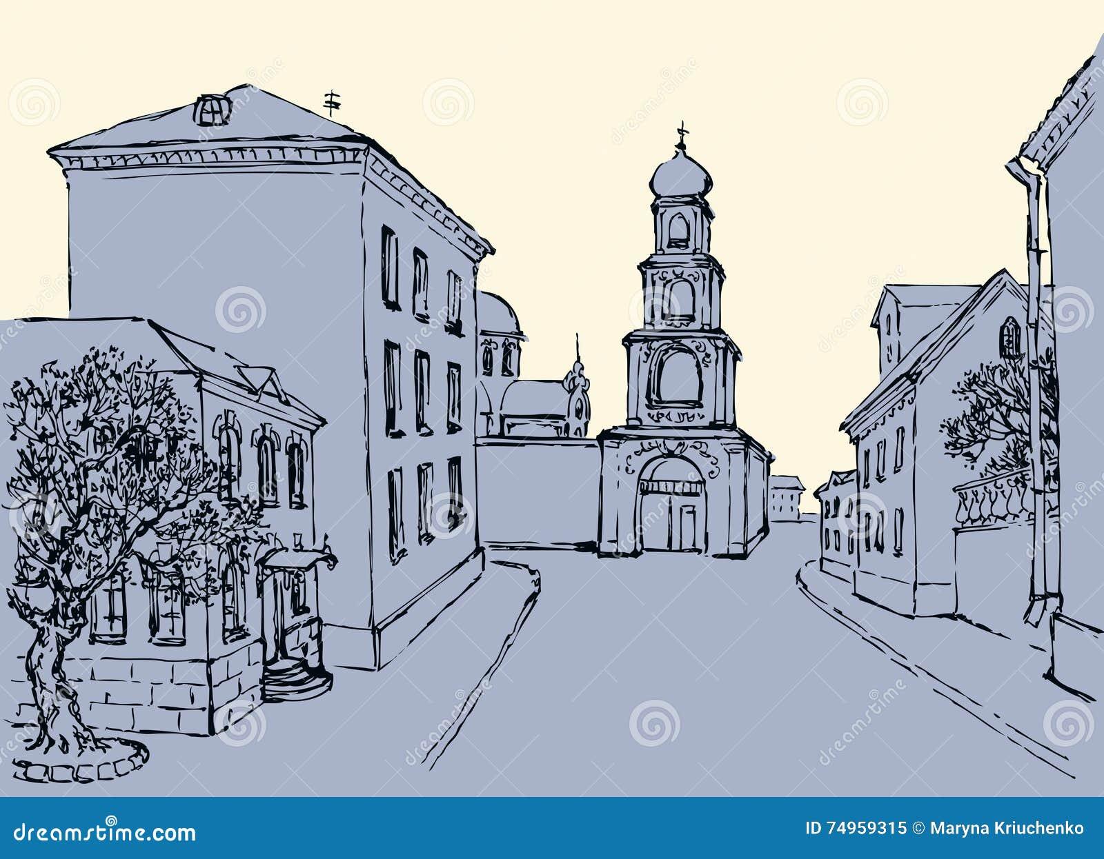 Vector cityscape Architecturale complex van oude stad