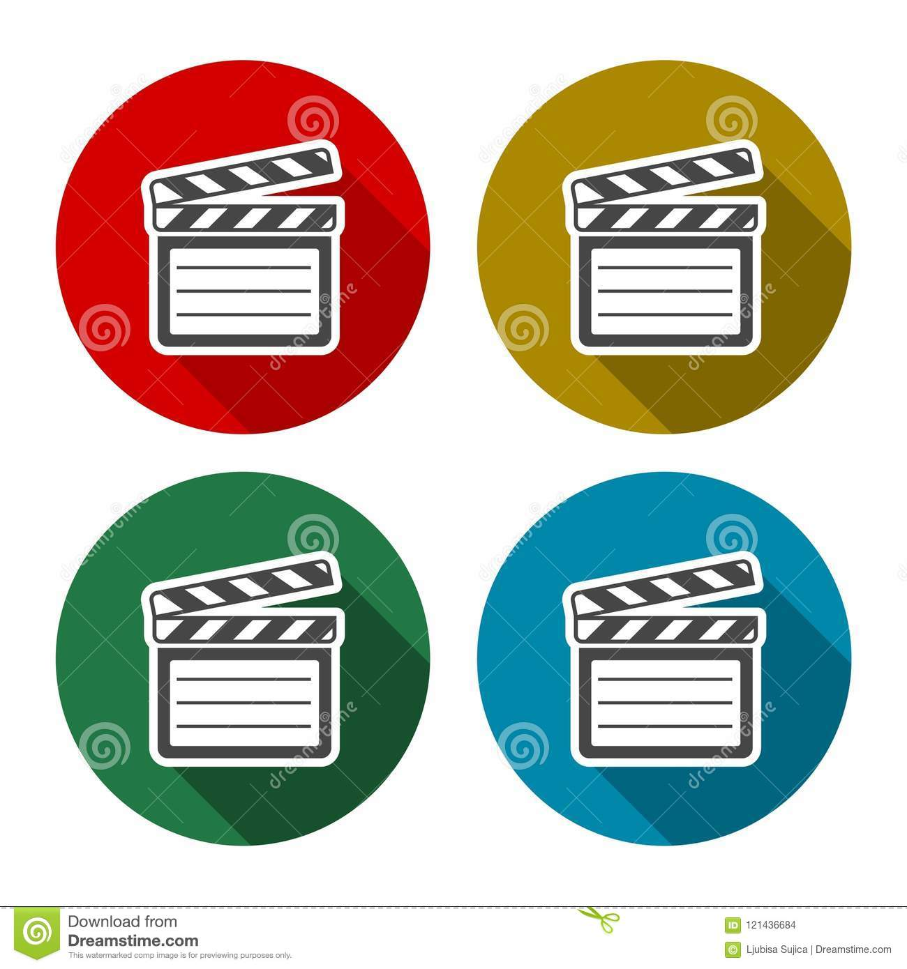 vector clap board icons set with long shadow stock vector