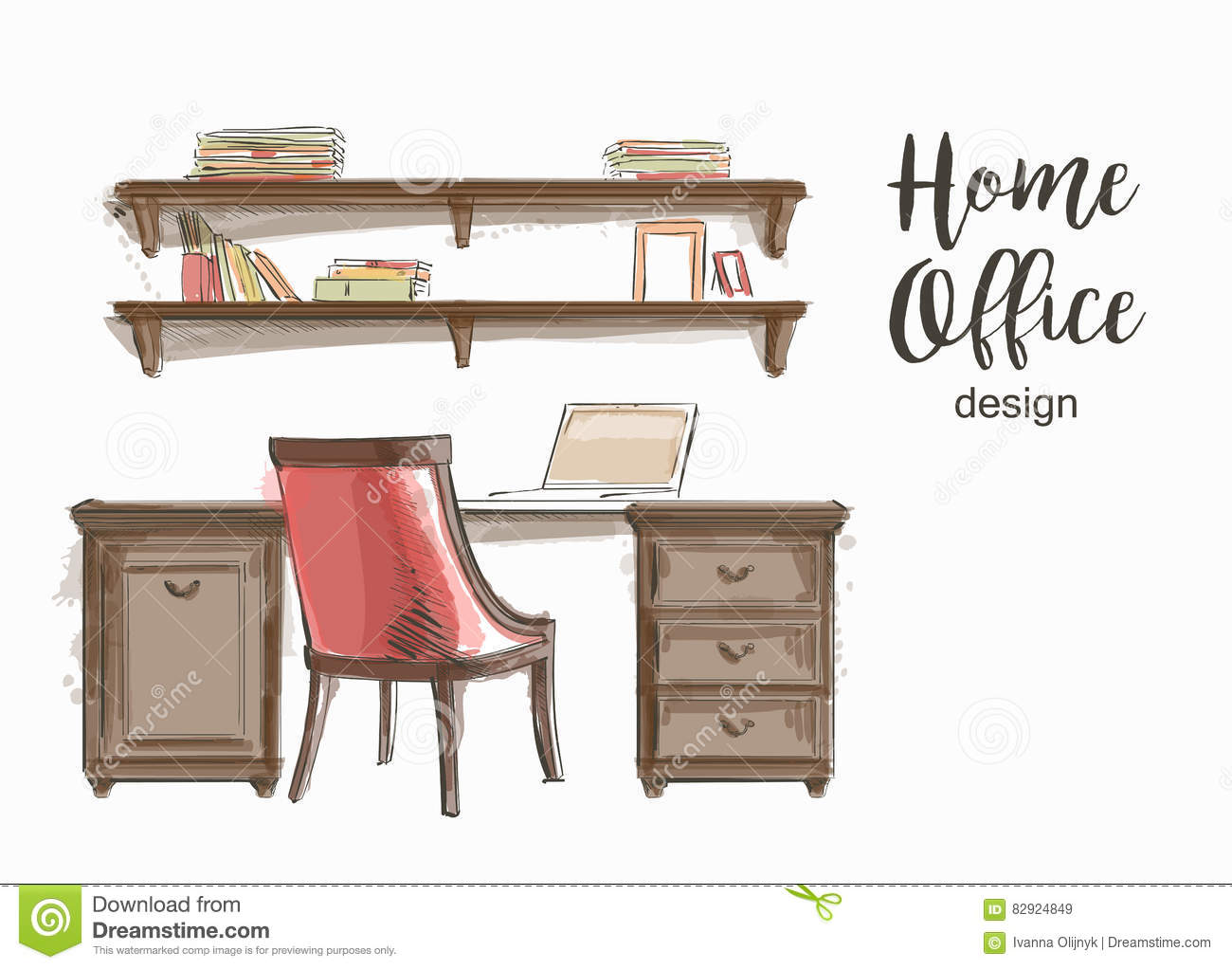 Interior wooden shelves free vector - Vector Classic Home Office Stock Vector Chair Hand Home Interior Office Shelf Sketch Table Vector Wooden