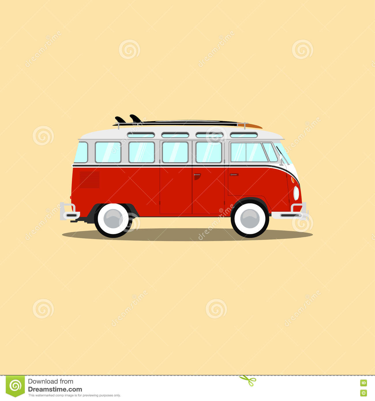 Vector Classic Retro Bus With Surfboard Stock Vector