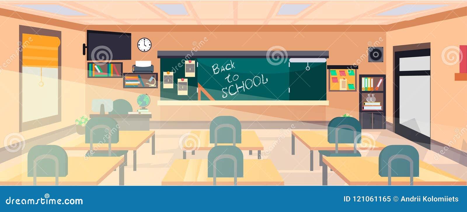Vector Classroom Interior Stock Vector Illustration Of Book 121061165