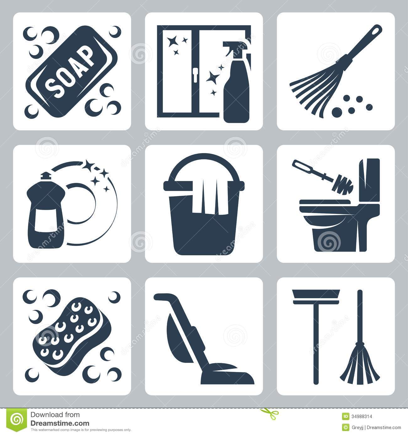 Vector cleaning icons set: soap, window cleaner, duster, dishwashing ...