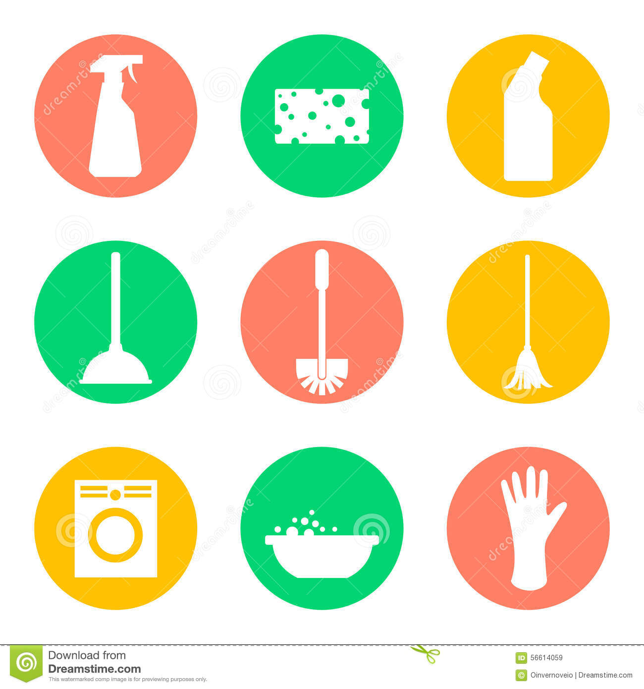 Vector Cleaning Products Icons Sponge And Washing Stock