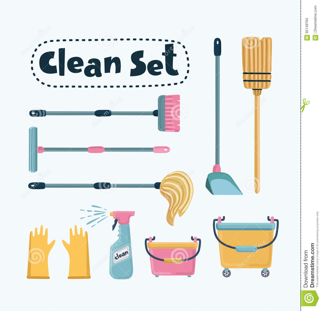 Vector Cleaning Set Vector Illustration Cartoondealer