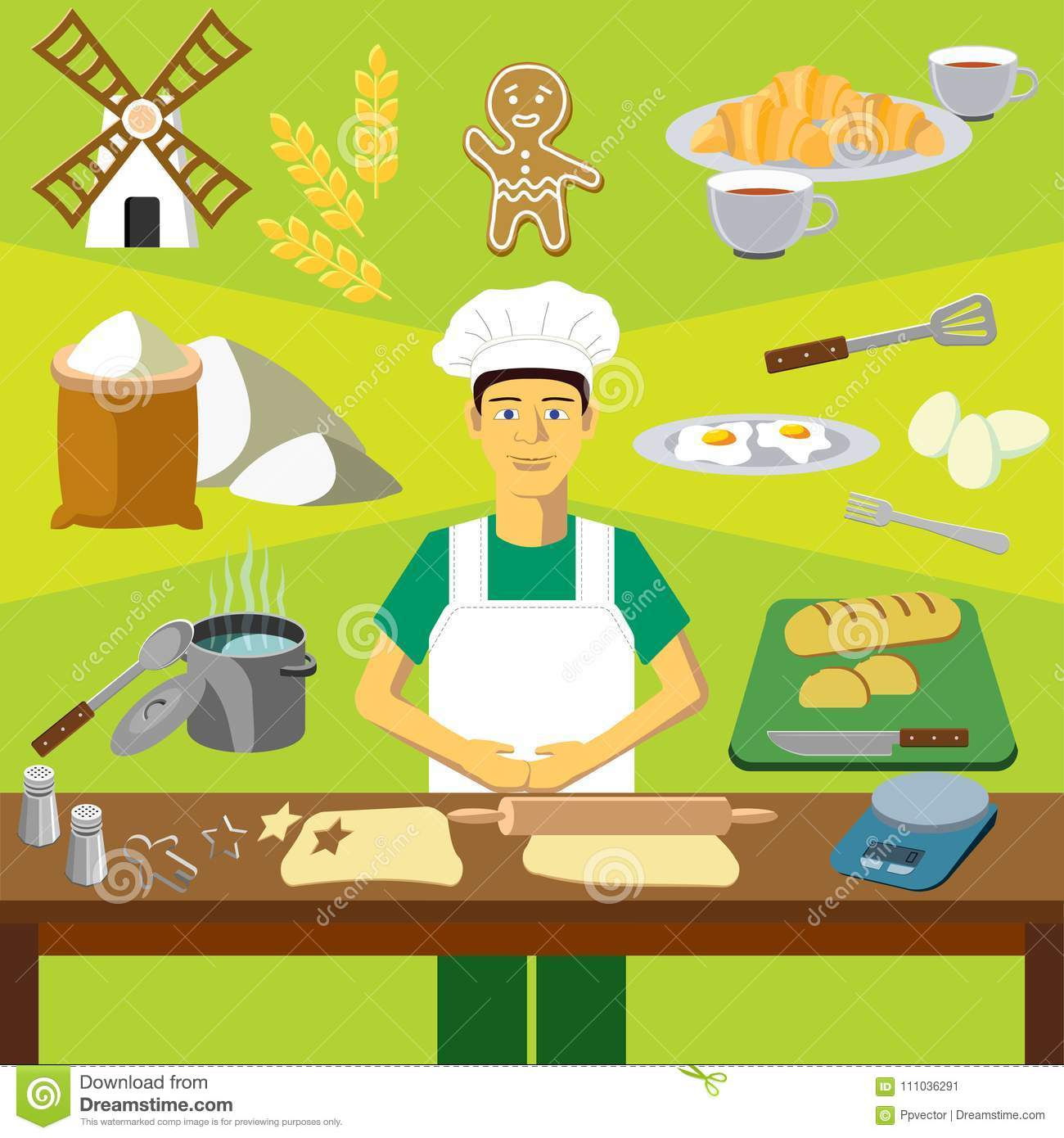 Vector clip art. Infographics education. Profession of the baker cook