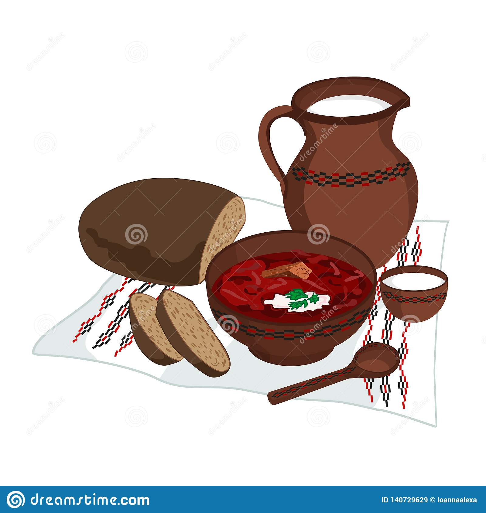 Vector Clipart Of Borscht With Bread And Milk - Dish Of ...