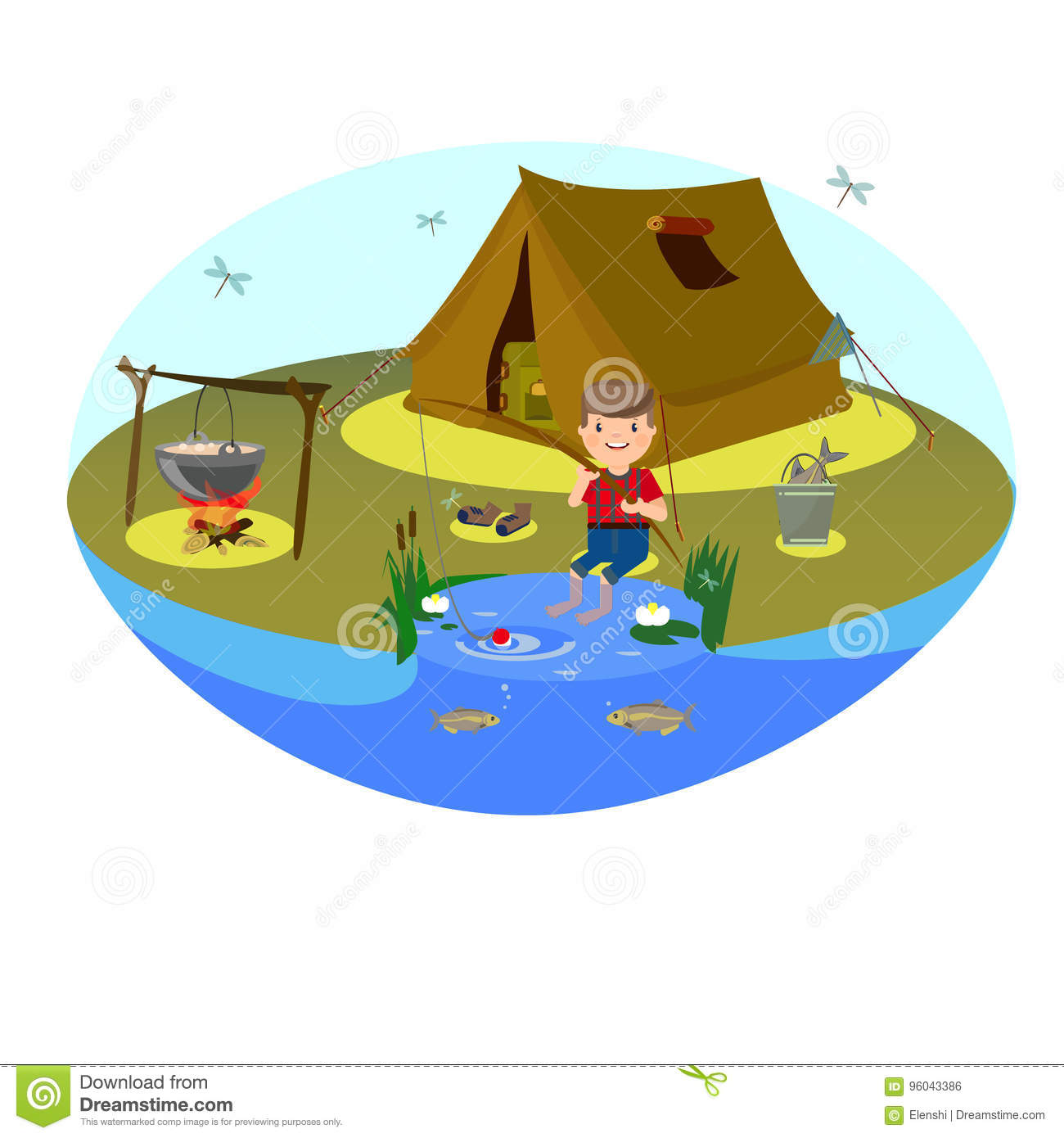 Vector Clipart For Tourism And Fishing The Boy Is Fishing On The Lake Tent Or Camping In The Clearing And Bonfire Stock Vector Illustration Of Green Summer 96043386