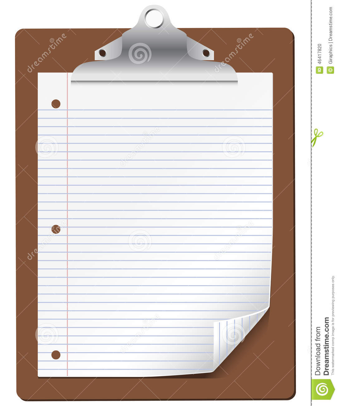 vector clipboard with lined paper stock vector illustration of