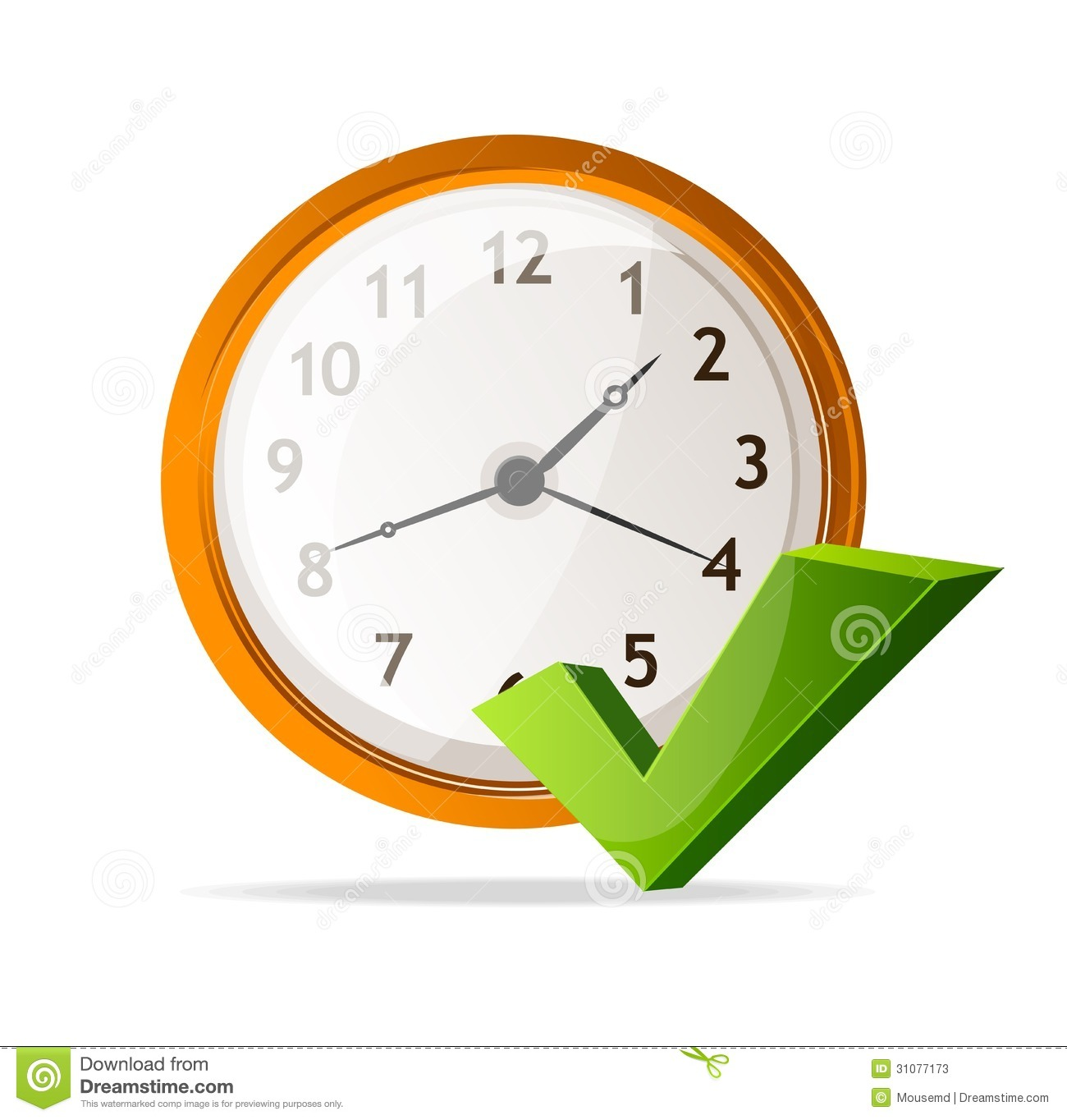 Vector Clock Icon And Check Mark Stock Photos - Image: 31077173