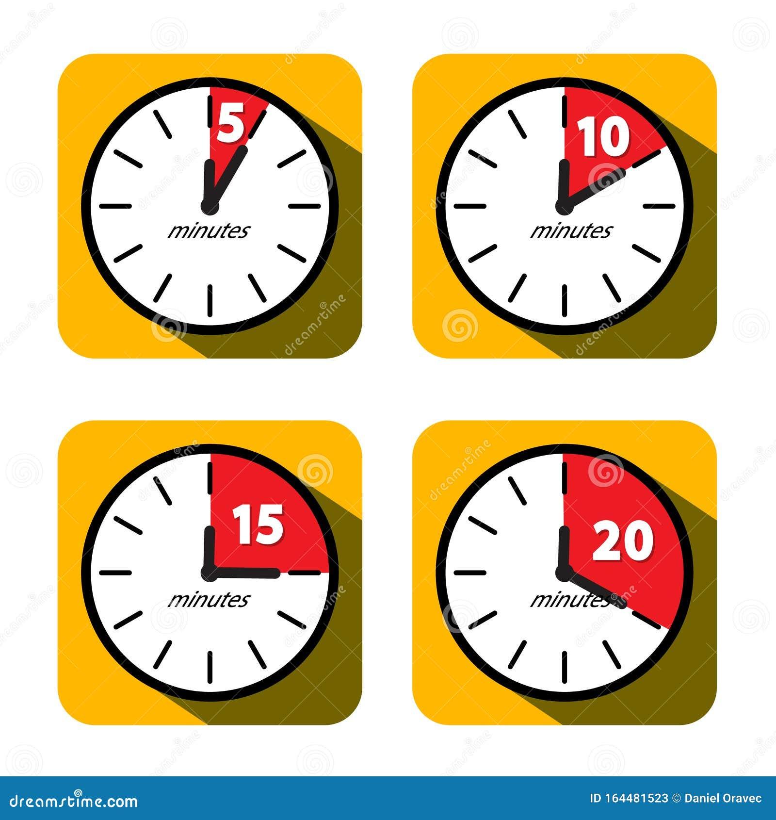 clock set  five  ten  fifteen and twenty minutes timer symbols  vector flat design time icons