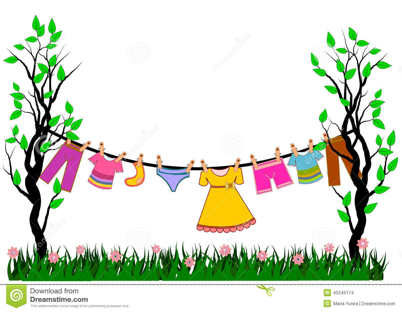 Vector Clothes Tree stock vector. Illustration of frame - 45245174