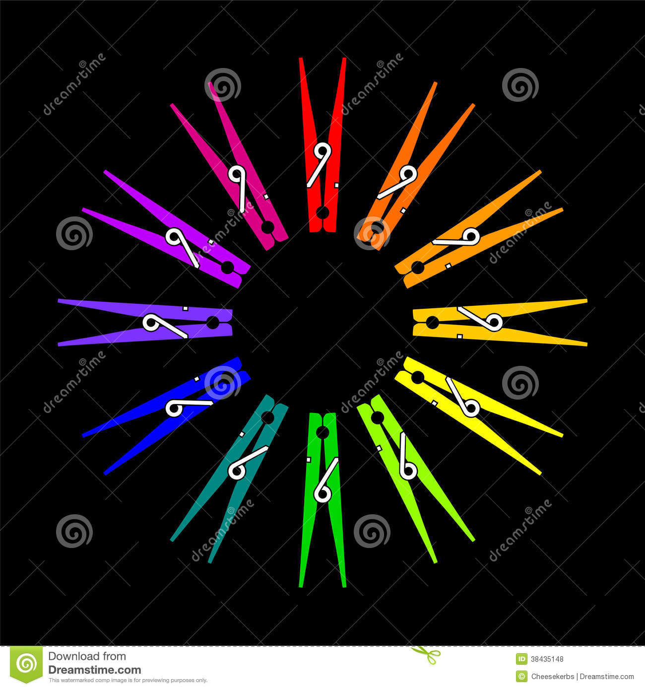 Vector Clothespin Color Wheel Stock Vector Illustration Of Colors