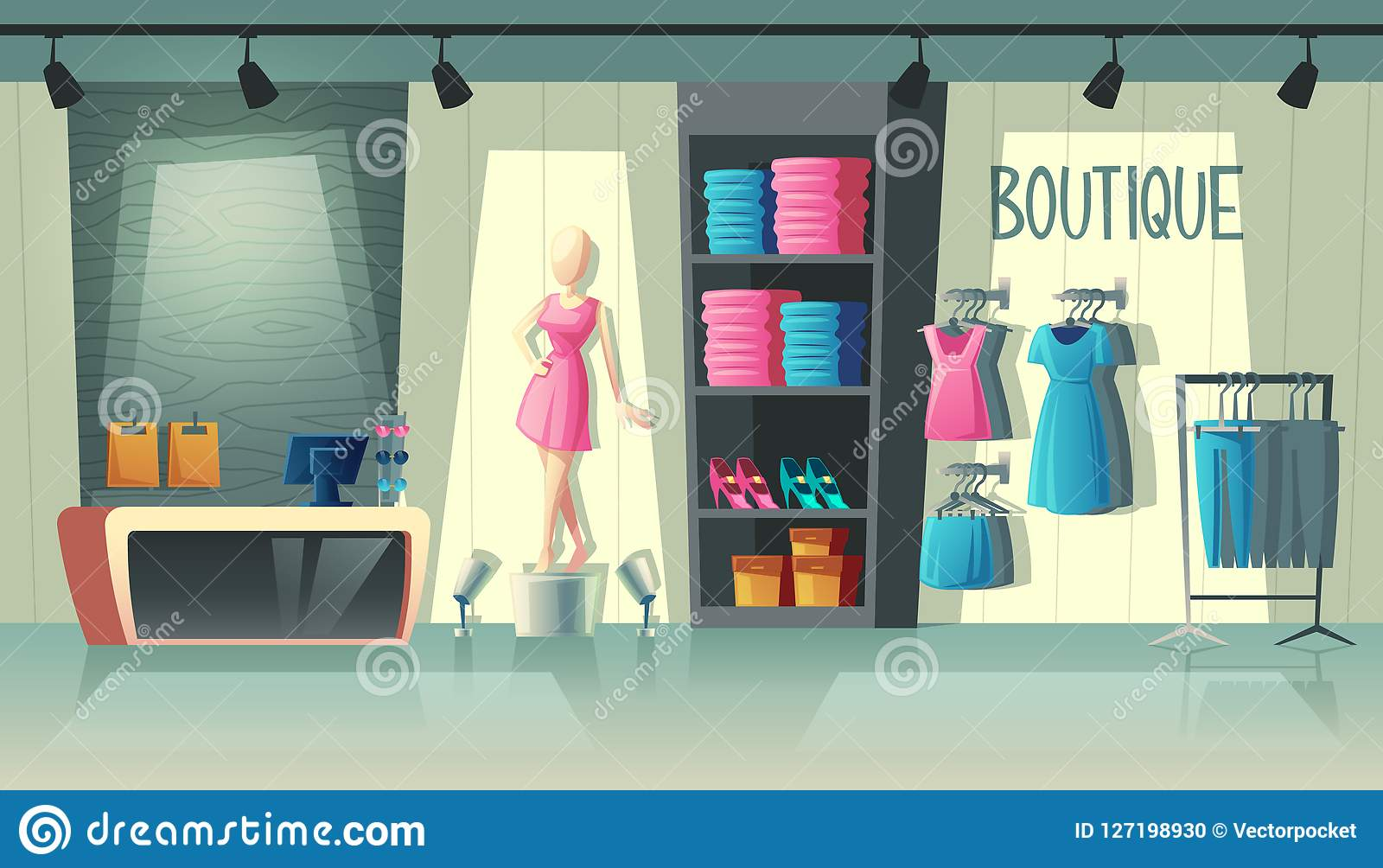 c1d50ca74 Vector clothing shop interior - wardrobe with woman clothes, cartoon  mannequin and stuff on hangers. Cashbox with table inside boutique, dress  collection.