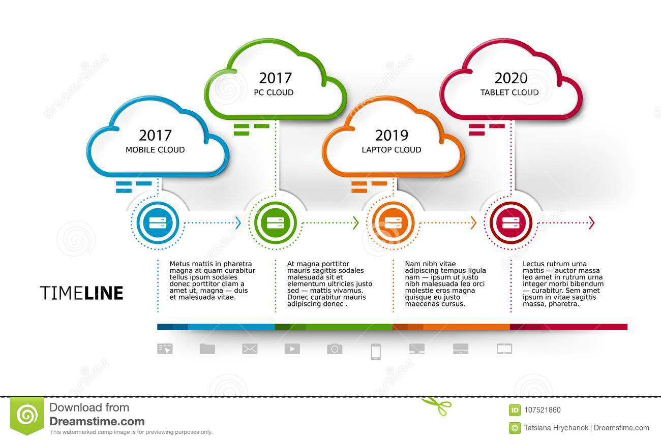 Vector cloud computing services timeline template stock vector vector cloud computing services timeline template cheaphphosting Images