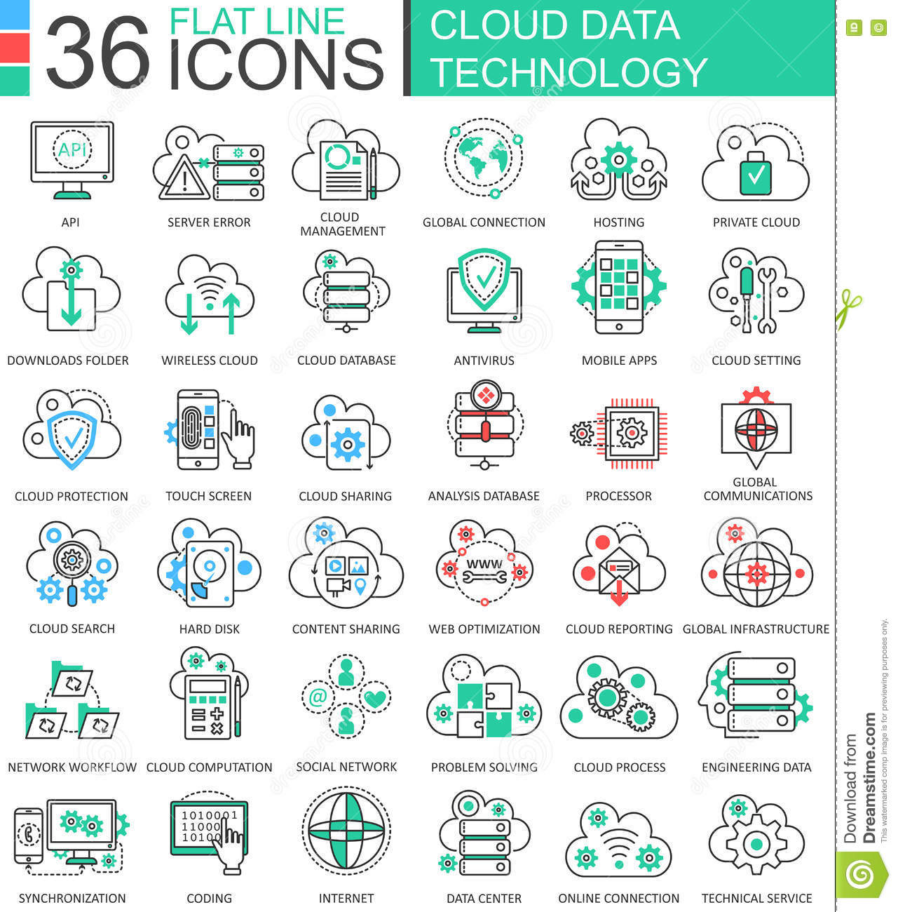 Modern colors web design - Vector Cloud Data Technology Ultra Modern Color Outline Line Icons For Apps And Web Design