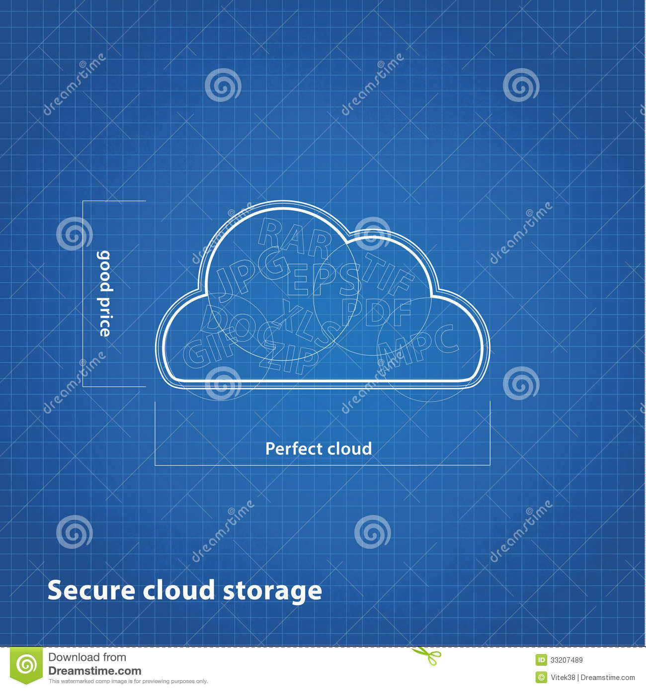 Vector Cloud Sketch With Blueprint Background Royalty