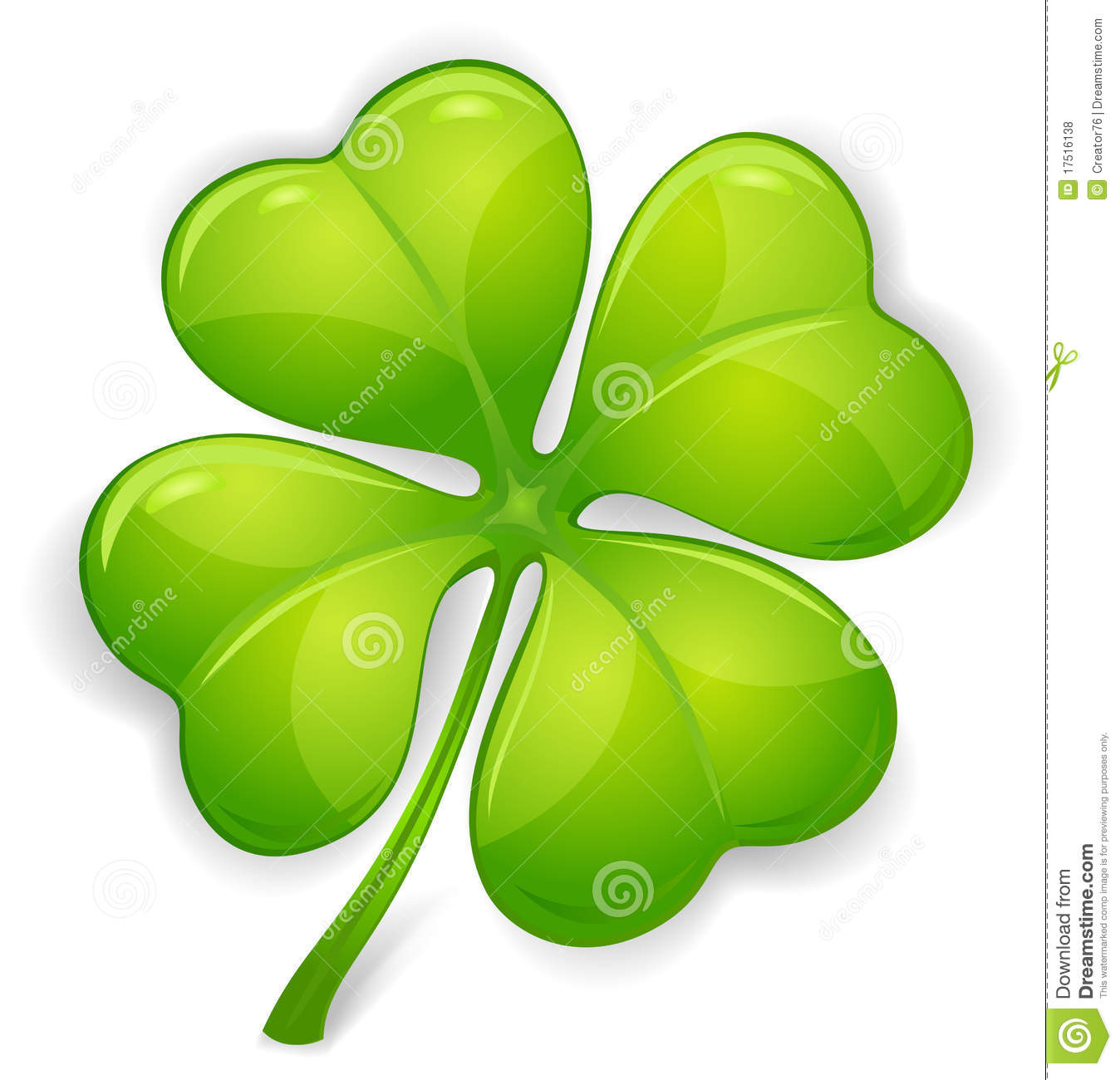 Four leaf clover isolated on white illustration for st patrick s day