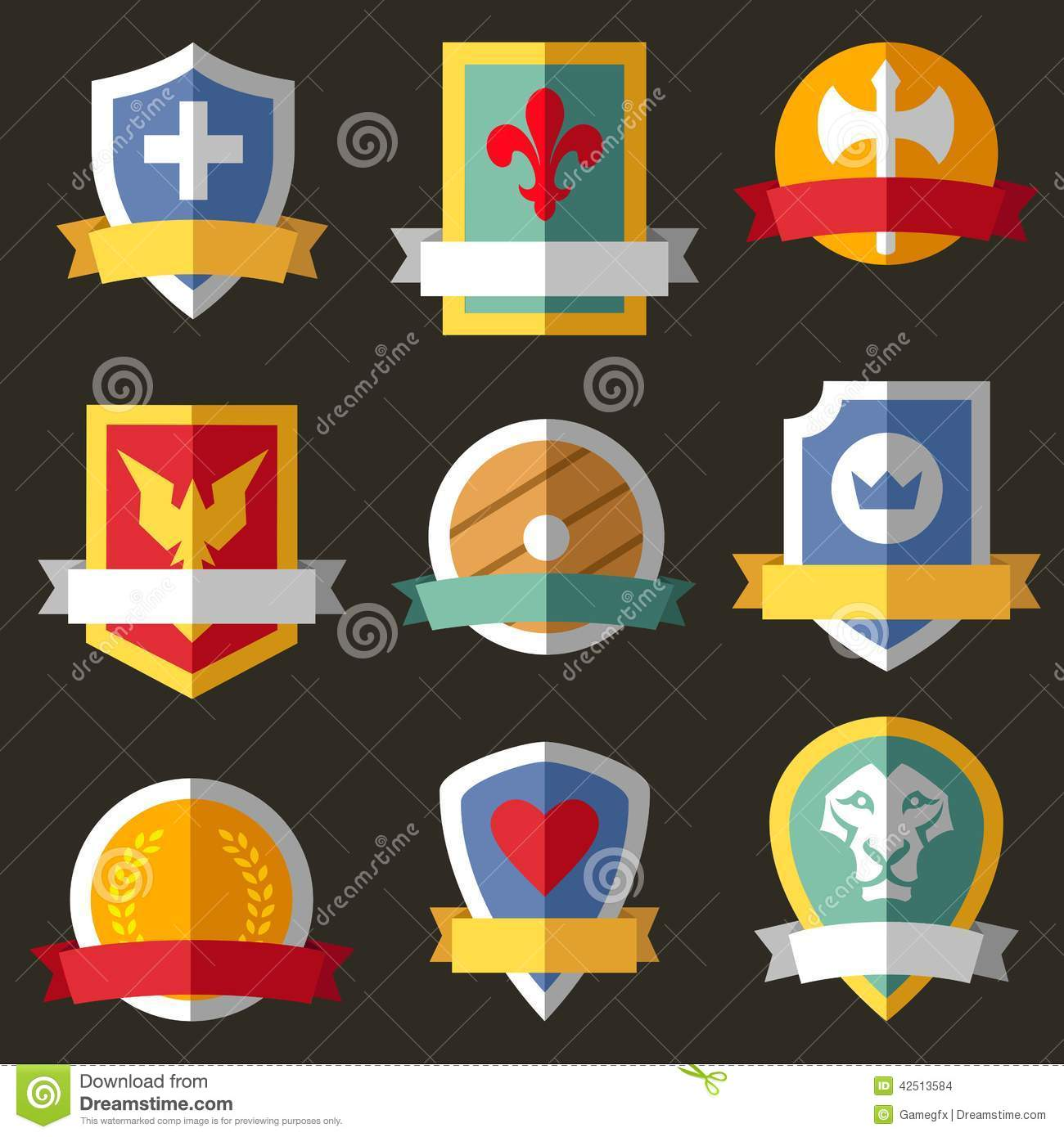 Vector Coats Of Arms, Shields, Ribbons Stock Vector