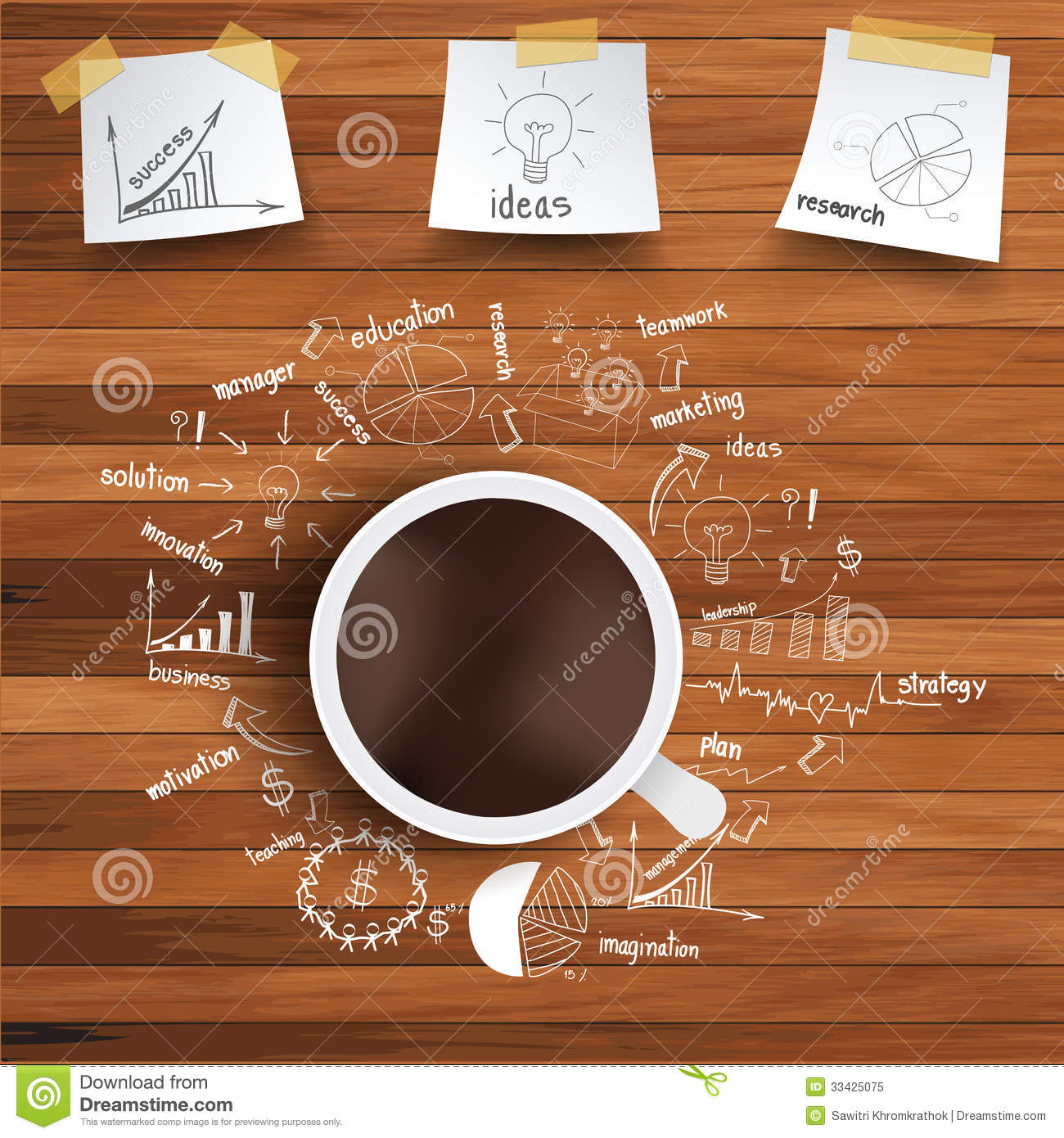 Vector Coffee Cup And Business Strategy On Wooden Stock