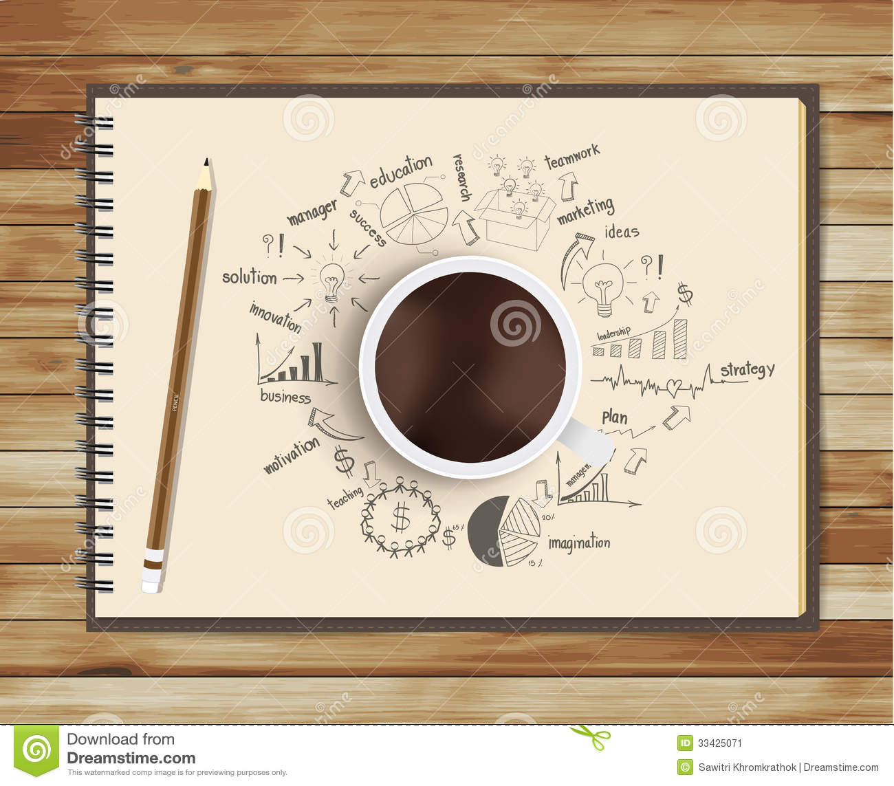 Vector coffee cup with notebook and drawing busine stock for Coffee business