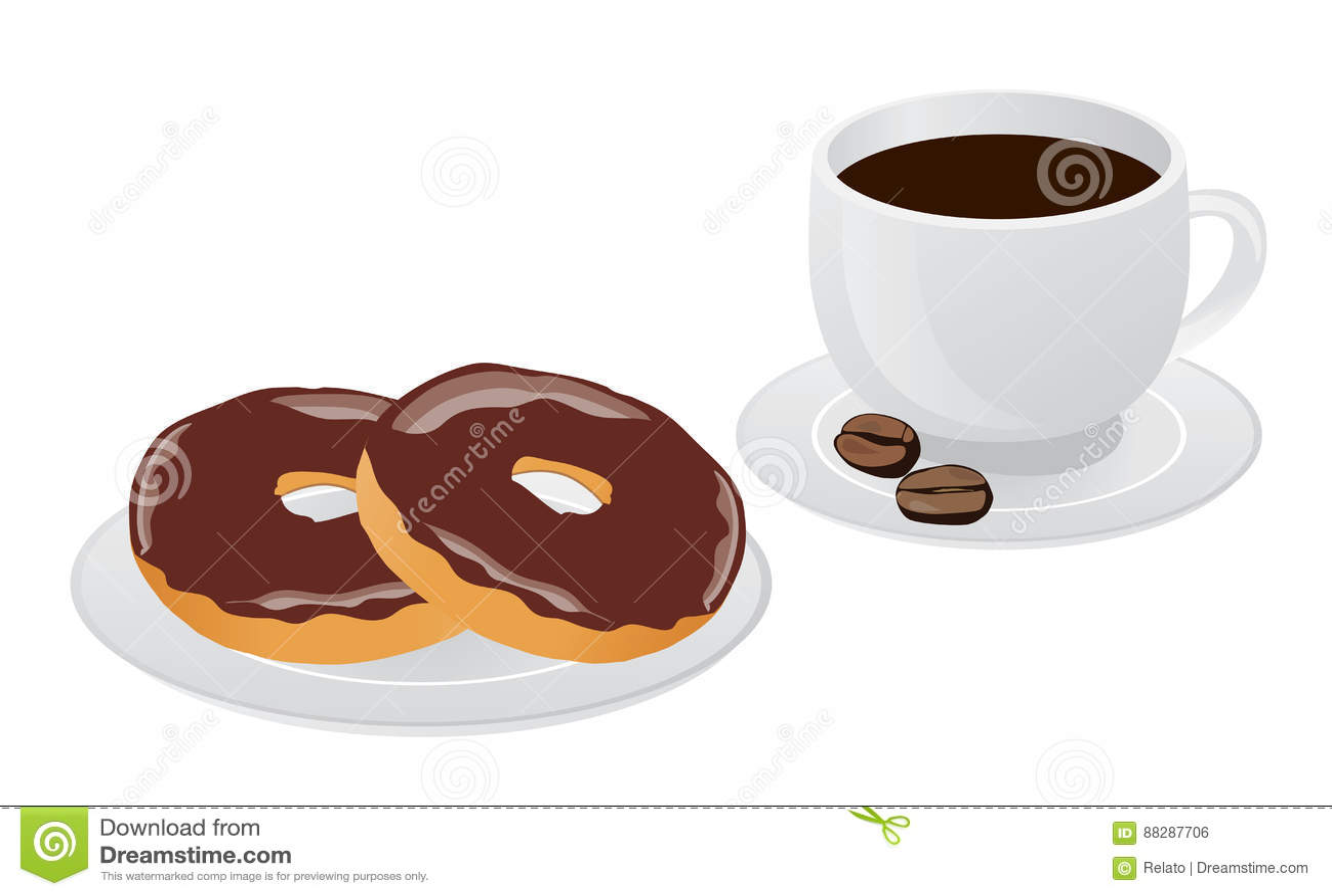 Vector coffee donut