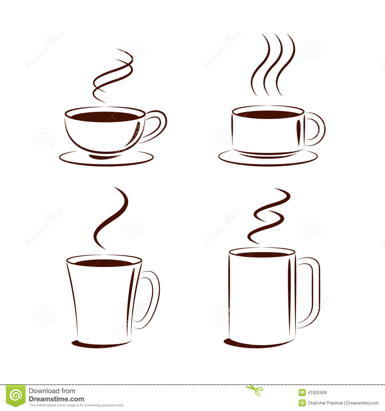 Vector Coffee Steam Brush Lines Stock Vector - Image: 41932906