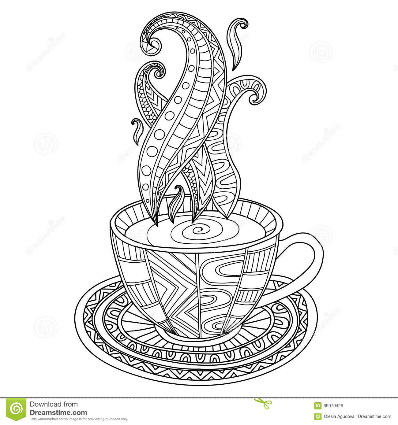 Vector coffee or tea cup with abstract ornaments stock for Cup picture for colouring