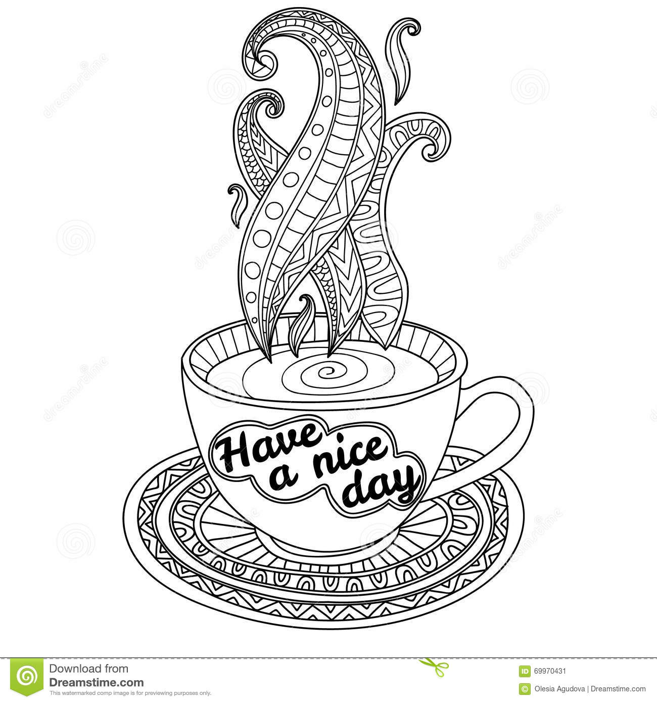 Vector Coffee Or Tea Cup With Abstract Ornaments And Lettering Have