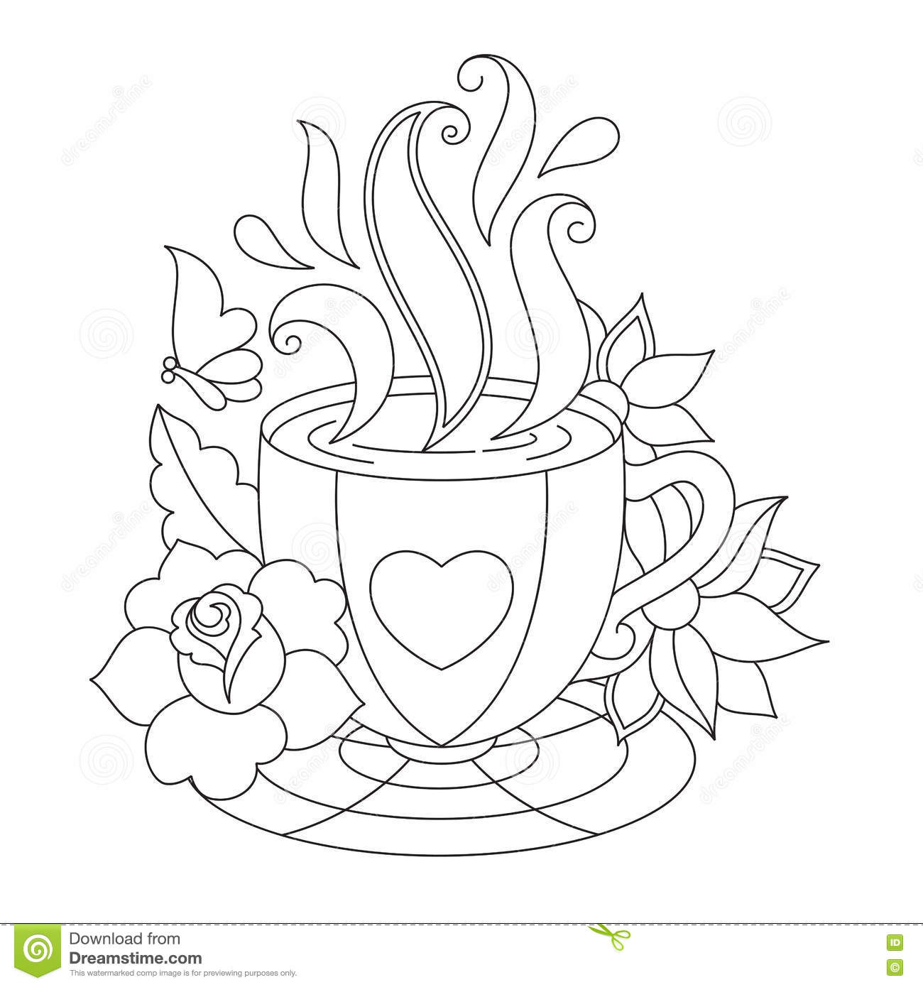 Zentangle Coffee Cup Sketch Coloring Page