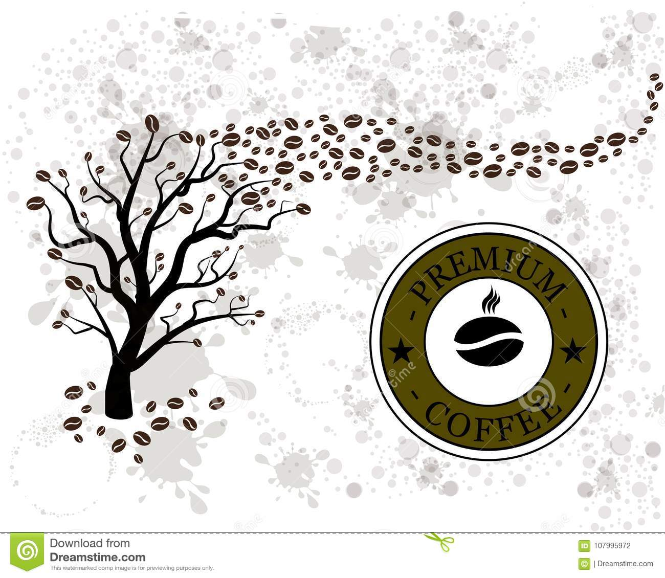Vector Coffee Tree With Coffee Beans Stock Vector Illustration Of
