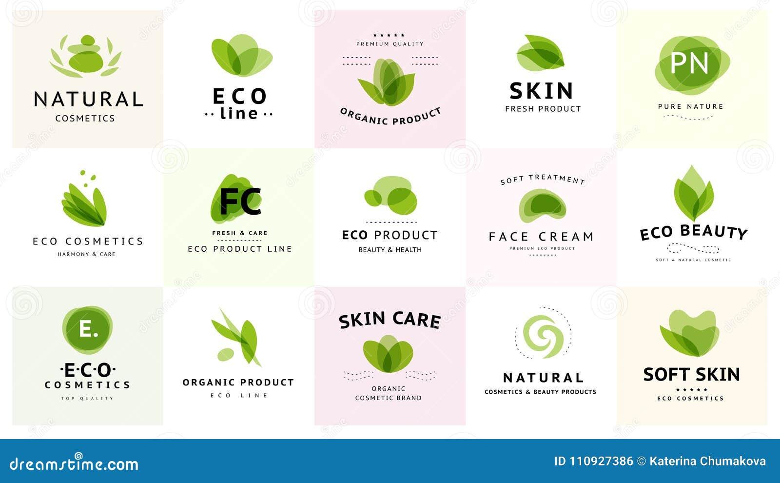 Vector a coleção da beleza transparente, dos cosméticos do eco e de símbolos saudáveis do tratamento em cores verdes isolada no f