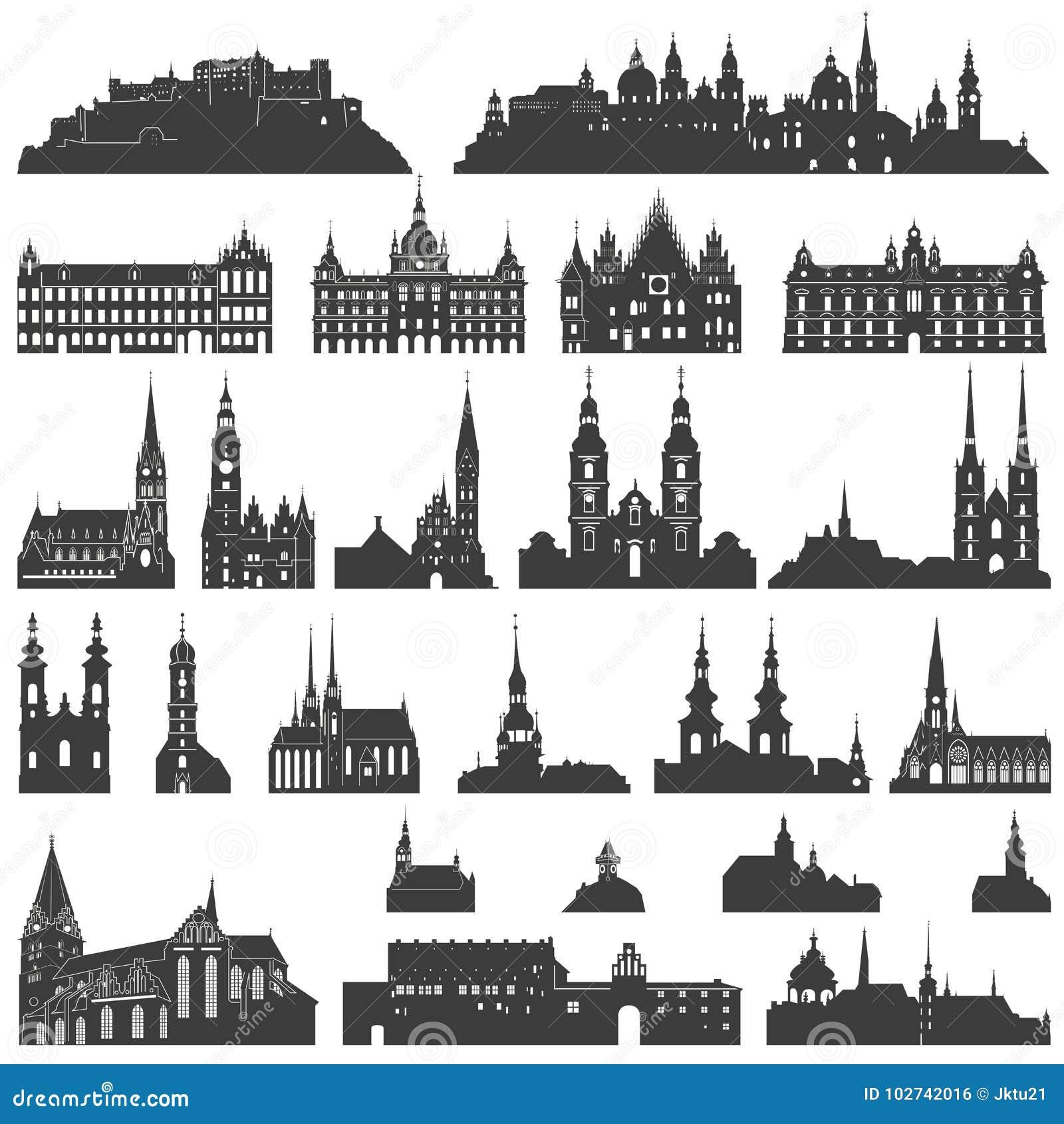Vector a coleção de palácios isolados, de templos, de igrejas, de catedrais, de castelos, de câmaras municipais, de edifícios, de