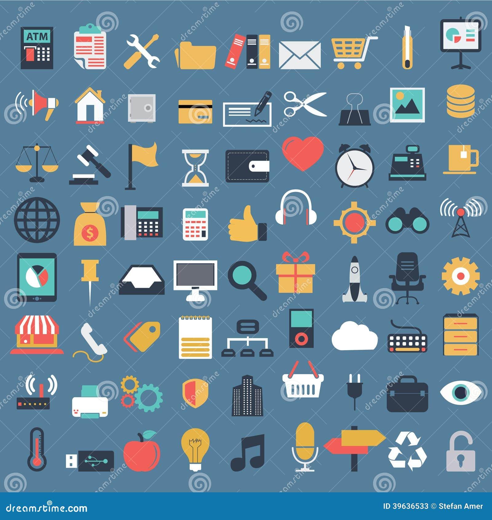 Vector a coleção do negócio liso colorido e financie ícones