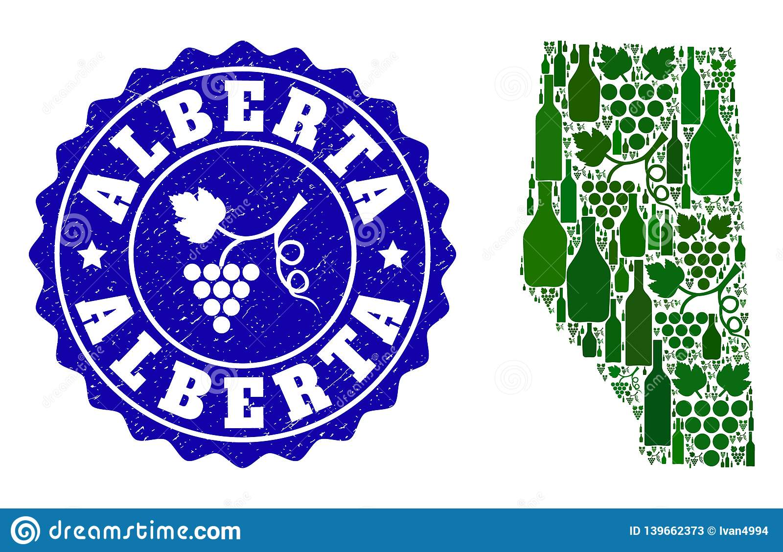 Collage Of Grape Wine Map Of Alberta Province And Grape Grunge Stamp