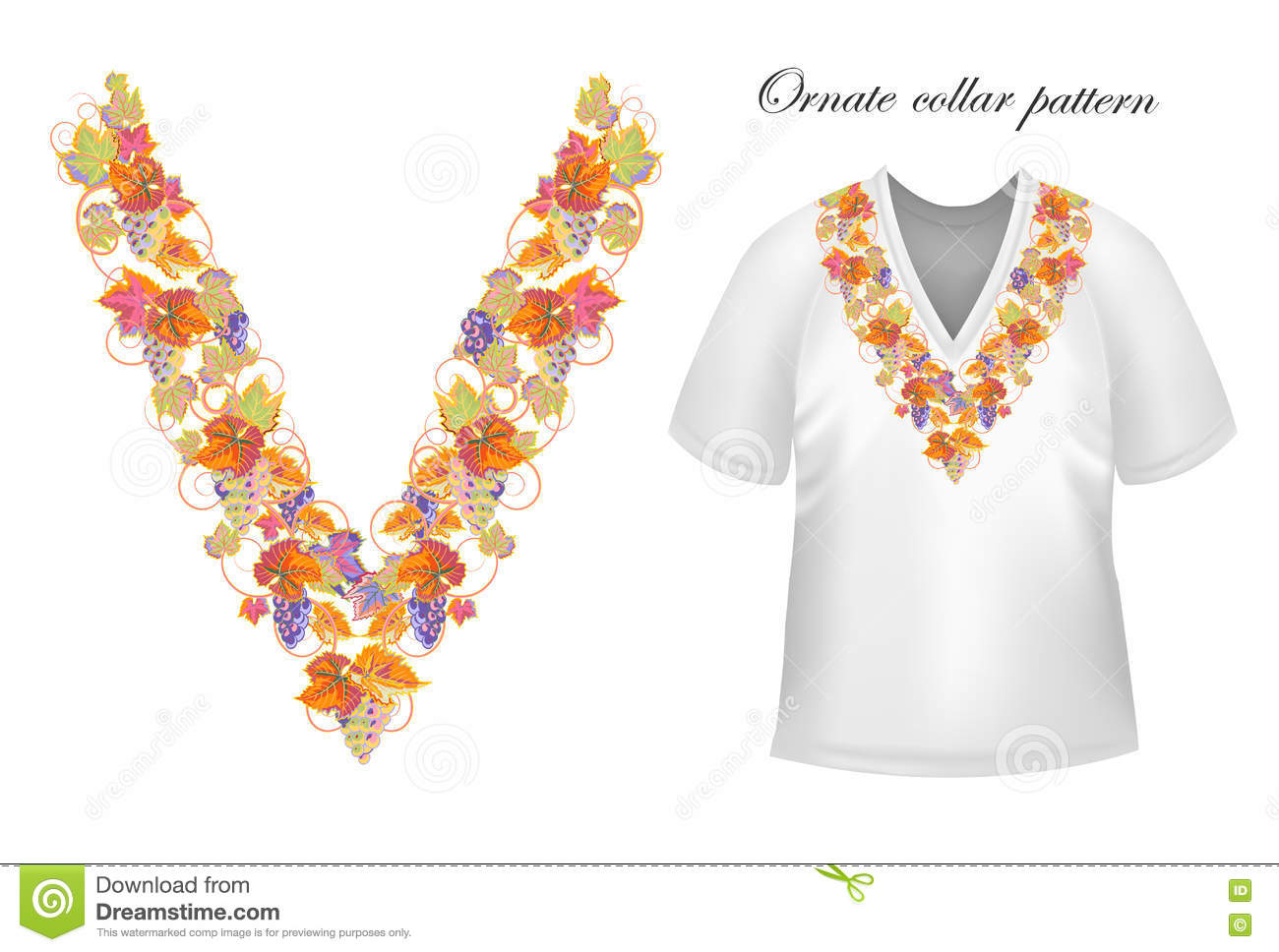 Vector collar vintage design stock vector image 76775967 for How to embroider a shirt