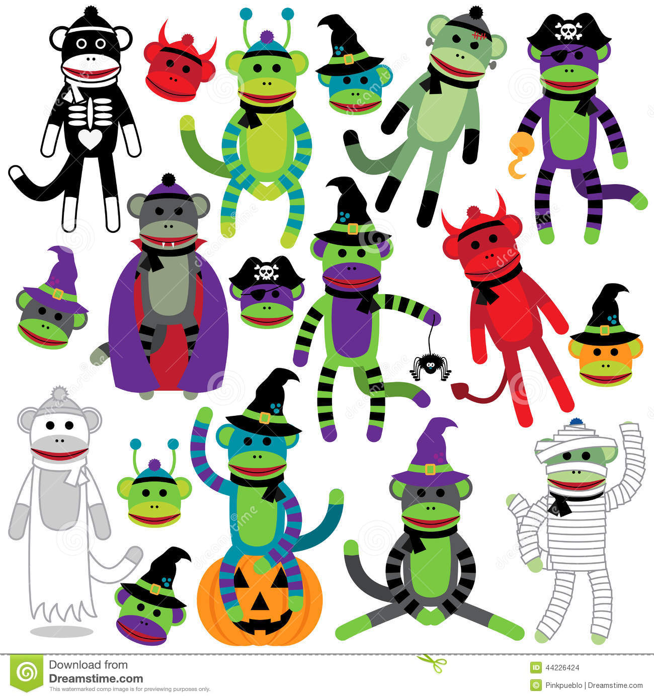 vector collection of adorable halloween themed sock monkeys stock