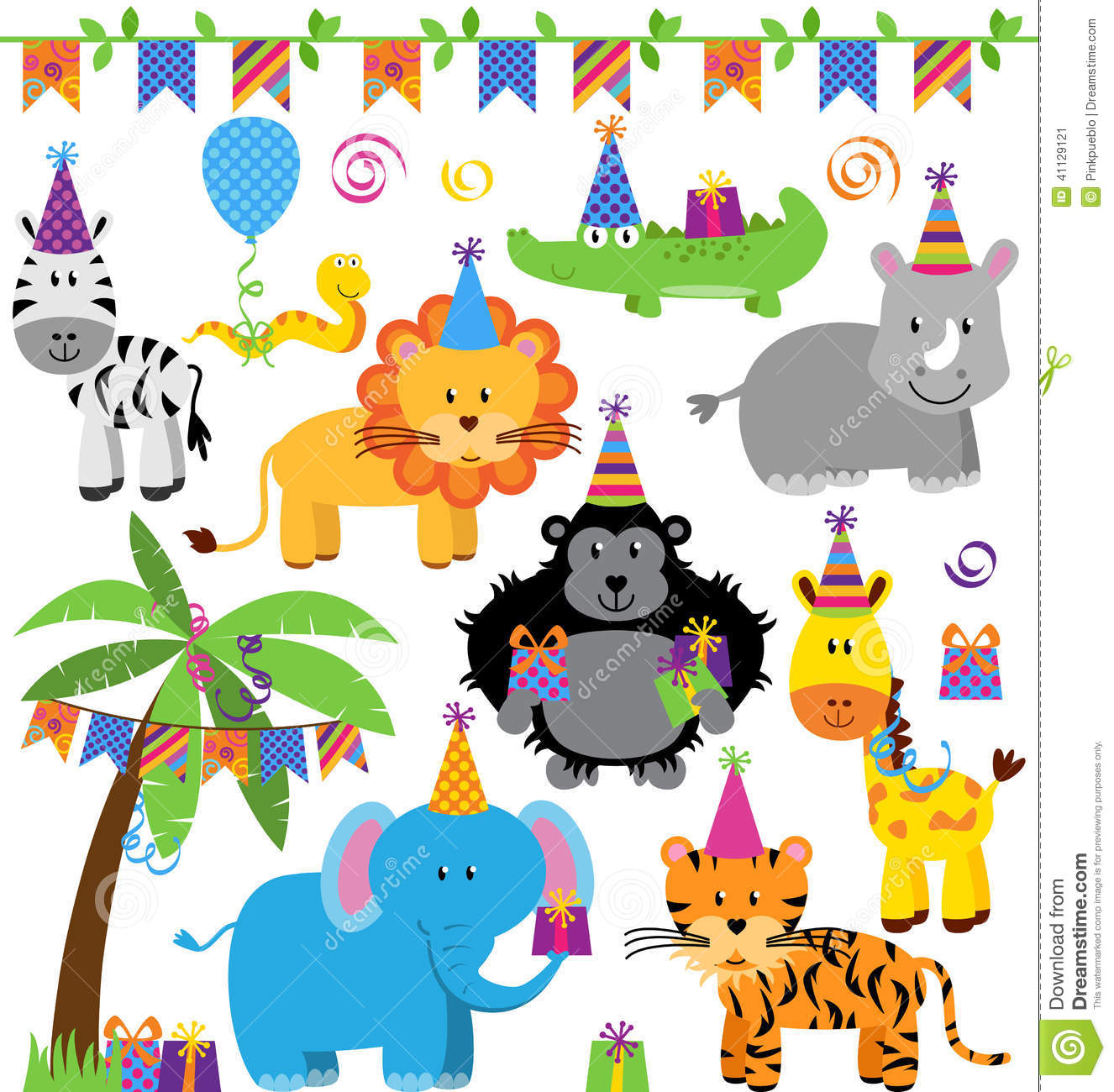 ... Themed Jungle, Zoo Or Safari Animals Stock Vector - Image: 41129121