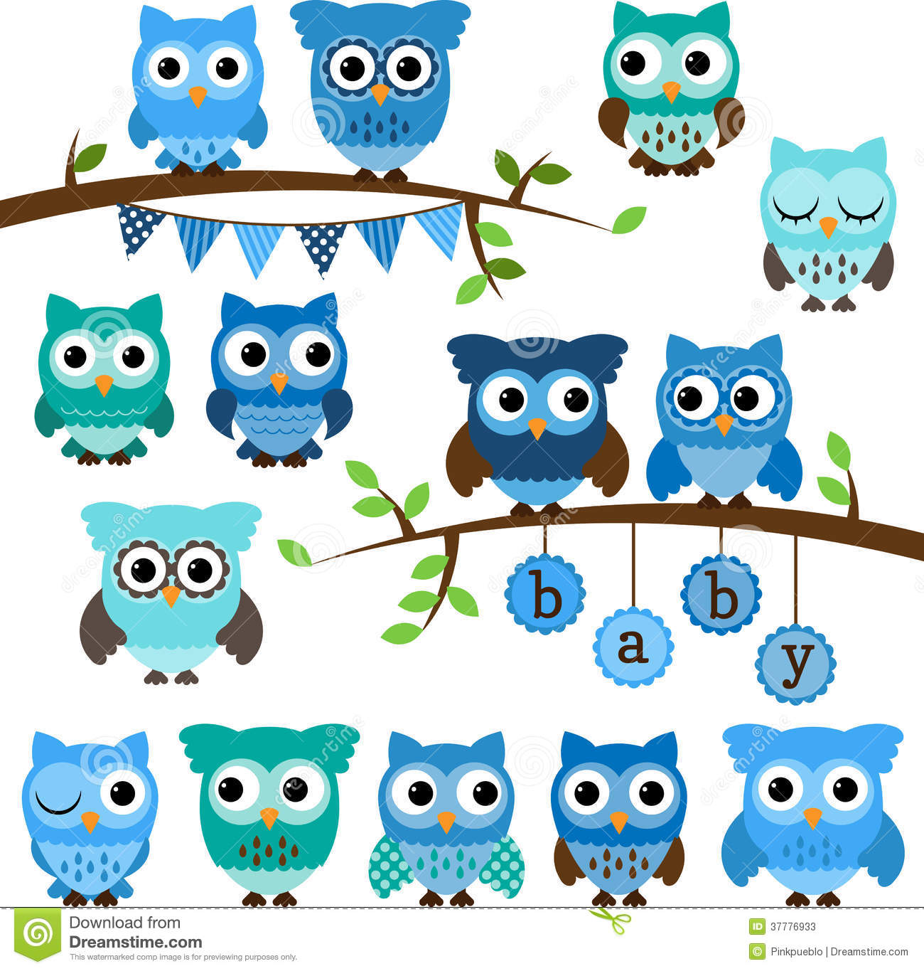 Vector Collection Of Boy Baby Shower Themed Owls Stock Photos - Image ...